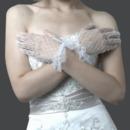 Wrist Tulle White Wedding Gloves with Ruffle