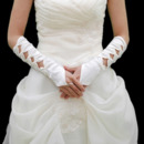 Elbow Ivory Satin Hollow Out Wedding Gloves with Pattern