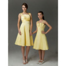 Knee-Length Taffeta Junior Bridesmaid Dresses with Spaghetti Straps