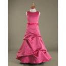 Ball Gown Jewel Floor-length Satin Junior Bridesmaid Dress