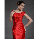 Sheath/ Column Knee-Length Capped Satin Mother of the Bride Dresses
