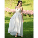 Simple Empire Spaghetti Straps Asymetrical Chiffon Wedding Dress