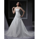 Elegant A-Line Strapless Chapel Train Satin Tulle Applique Wedding Dresses