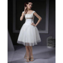 Casual Ball Gown Sleeveless Knee Length Short Wedding Dresses with Sashes