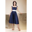 Straps Square Knee-Length Satin Bridesmaid/ Wedding Party Dresses