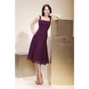 Inexpensive Summer Square Knee Length Chiffon Bridesmaid Dresses