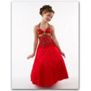 Affordable Halter Ankle Length Satin Beaded Easter/ Flower Girl Dresses