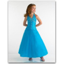 Pretty Blue Easter Girls Dresses/ Satin Beaded Flower Girl Dresses