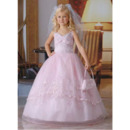 Inexpensive Ball Gown Spaghetti Straps Pink First Communion Dresses