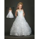 White Halter Ruffled First Communion Dresses/ Flower Girl Dresses
