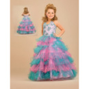 Colorful A-Line Floor Length Tiered Easter Girls Dresses/ Flower Girl Dresses