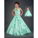 Inexpensive A-Line Halter Floor Length Taffeta Flower Girl Dresses