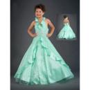 Inexpensive A-Line Halter Floor Length Taffeta Flower Girl Dresses