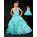 Discount Luxurious Ball Gown One Shoulder Beaded Flower Girl Dresses