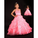 Affordable Stunning Halter Full Length Taffeta Flower Girl Dresses