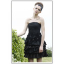 Tiered A-Line Short Cocktail Dresses/ A-Line Black Satin Party Dresses