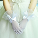 Wrist Tulle White Flower Girl/ First Communion Gloves with Bows