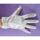 Wrist Elastic Satin White Flower Girl/ First Communion Gloves with Beads