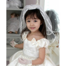 2 Layers White Tulle Flower Girl Veils with Tiaras