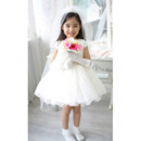 White Organza Flower Girl Veils with Tiaras