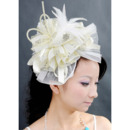 Stunning Ivory Tulle Fascinators with Feather for Brides