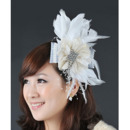 Stunning White Organza Fascinators with Feather and Beads for Brides