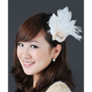 Stunning White Chiffon Fascinators with Feather and Flowers for Brides