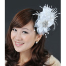 Gorgeous White Satin Chiffon Tassel Fascinators with Feather for Brides