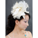 Chic Ivory Satin Fascinators with Bows and Beads for Brides