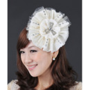 Gorgeous Ivory Satin Tulle Fascinators with Beads for Brides
