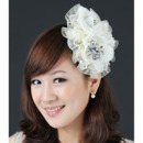 Elegant Ivory Organza Lace Fascinators with Rhinestones for Brides