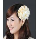Elegant Ivory Satin Chiffon Fascinators with Beads for Brides