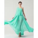 Designer One Shoulder Asymmetric Floor Length Chiffon Bridesmaid Dresses