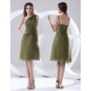 Affordable Summer A-Line One Shoulder Short Chiffon Bridesmaid Dresses