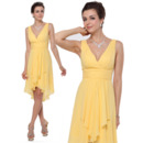 Inexpensive Custom Sheath V-Neck Short Chiffon Summer Bridesmaid