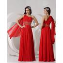 Custom Sheath One Shoulder Floor Length Chiffon Evening/ Prom Dresses