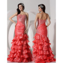 Inexpensive Mermaid Sweetheart Sweep Train Satin Evening/ Prom Dresses