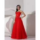 Affordable A-Line Sweetheart Floor Length Organza Evening/ Prom Dresses