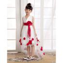 A-Line V-Neck High-Low Organza Flower Girl Dresses