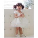 Ball Gown Cap Sleeves Short Organza Flower Girl Dresses