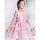 A-Line Round/ Scoop Short Satin Flower Girl Dresses