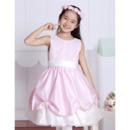 A-Line Round Knee Length Satin Flower Girl Dresses