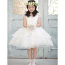 A-Line Knee Length Satin Organza Flower Girl Dresses