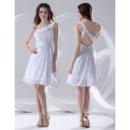 Affordable One Shoulder Chiffon Short Summer Beach Wedding Dresses