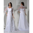 Discount Sweetheart Sweep Train Satin Wedding Dresses with Jackets