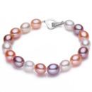Stunning Multicolor 9 - 10mm Freshwater Drop Bridal Pearl Bracelet