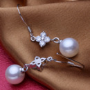 White 8 - 8.5mm Freshwater Round Bridal Pearl Earring Set