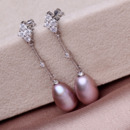 White/ Purple/ Pink 8.5 - 9.5mm Freshwater Drop Pearl Earring Set