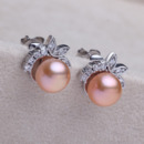 Purple/ Pink/ White 7.5 - 8.5mm Freshwater Off-Round Pearl Earring Set