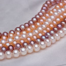 White/ Pink/ Purple 6.5 - 7.5mm Freshwater Off-Round Pearl Necklace